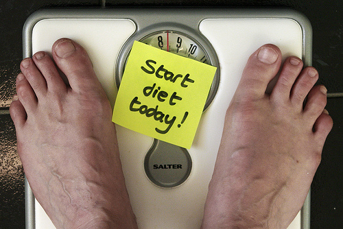 Feet on scales -- sticky note says Start Diet Today